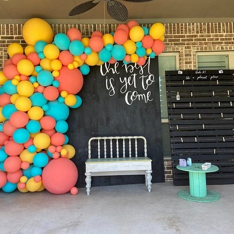 Goldenrod, Coral and Caribbean Balloon Wall