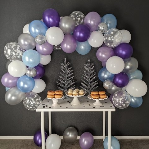 White, Purple, Blue and Silver Balloon Arch