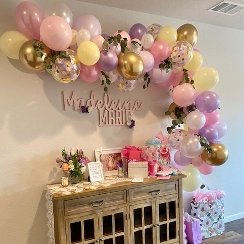 Pink, Yellow and Lavender Balloon Garland