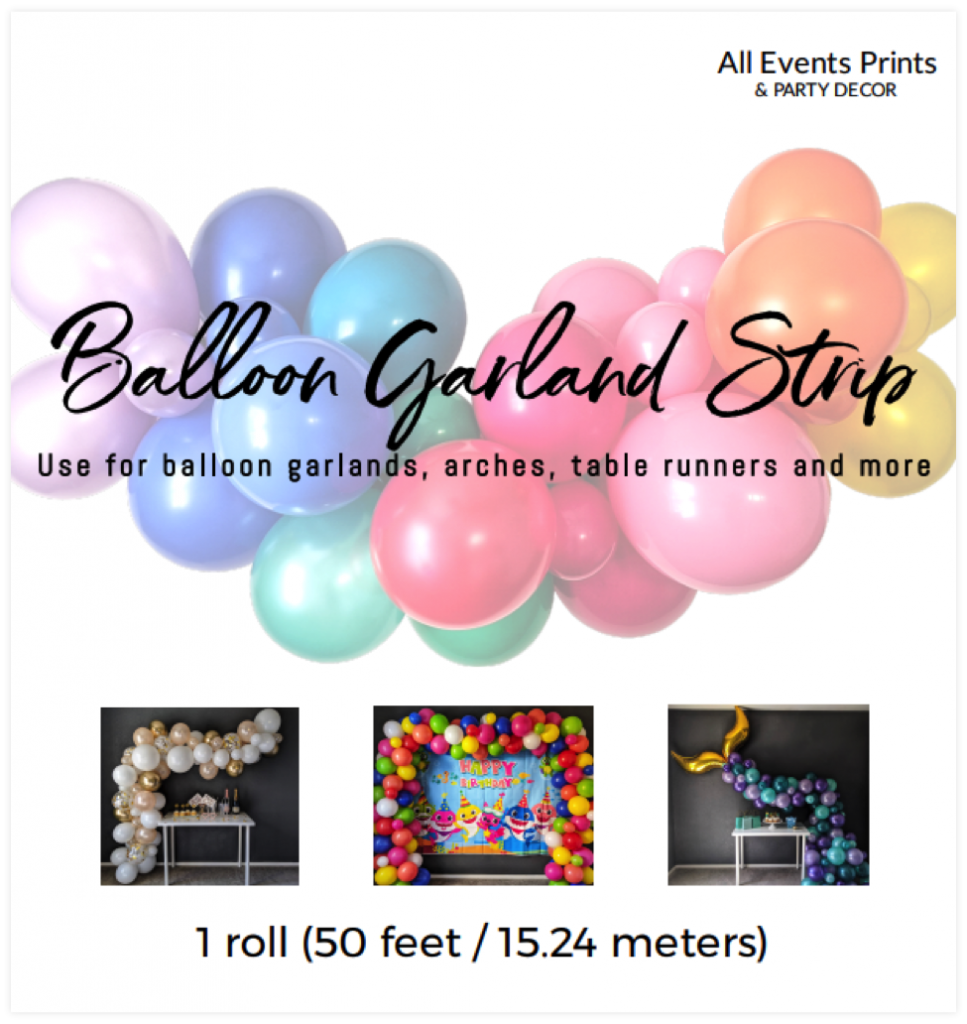 Front Side of Balloon Garland Strip Packaging
