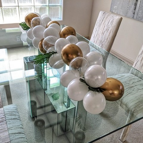 White, Gold and Clear Balloon Table Runner